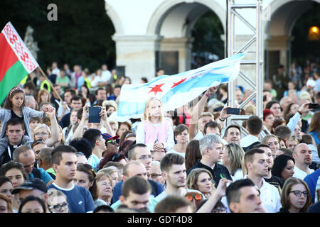 Warsaw, Poland, 21st July 2016: Youths from around the world gathered to Poland for the World Youth Day. Thousands - Stock Photo