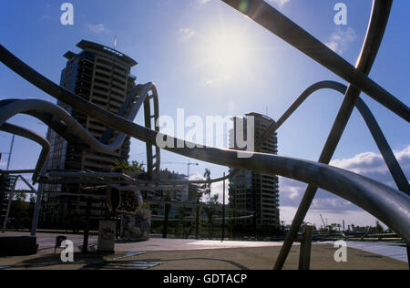 Barcelona: structures in Diagonal Mar park - Stock Photo