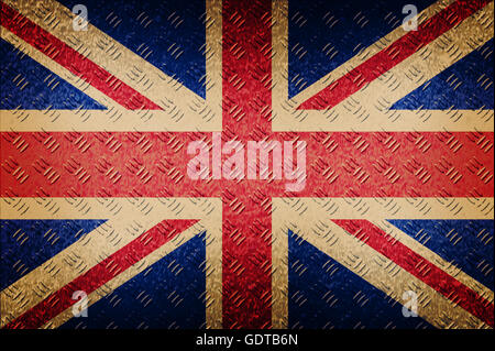 united kingdom flag on seamless diamond plate metal background. grunge design. retro style. - Stock Photo