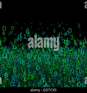 Binary data background / 3D illustration binary data cloud - Stock Photo