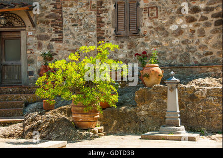 village Roccatederighi, stone houses on a hill, commune of Roccastrada, Tuscany, province Grosseto, Italy - Stock Photo