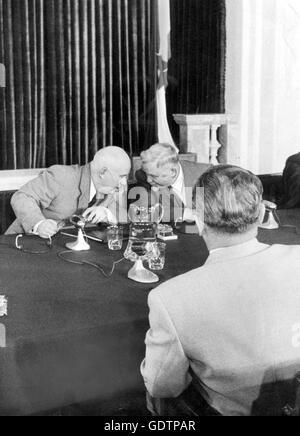 Nikita Khrushchev and Nikolai Bulganin, 1955 - Stock Photo