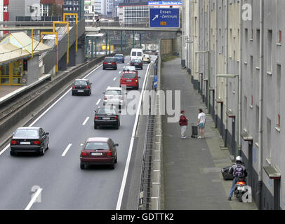 Noise barrier on the A40 in Essen - Stock Photo