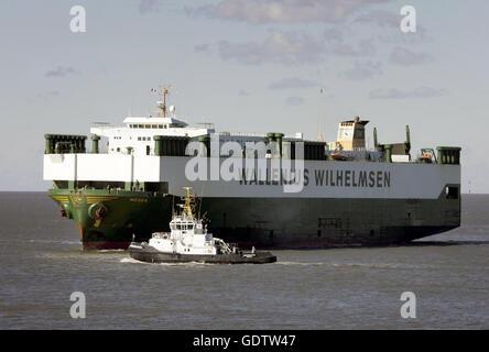 A car carrier ship of Wallenius Wilhelmsen - Stock Photo