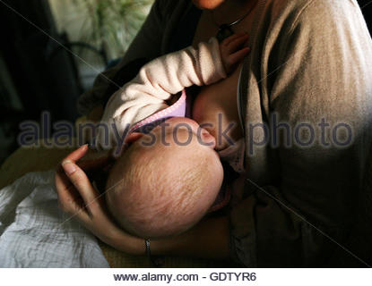 Embargoed to 0001 Thursday July 21 File photo dated 26/12/08 of a baby breastfeeding, as Public Health England said - Stock Photo