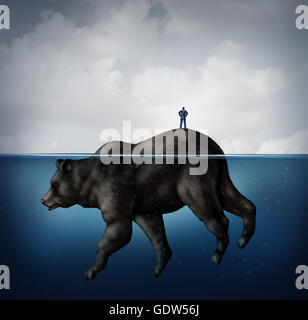 Hidden bear market financial concept as a naive or unsuspecting businessman standing on an island that turns out - Stock Photo