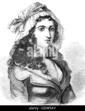 Marie-Anne Charlotte de Corday d'Armont (1768 – 1793), known as Charlotte Corday  was a figure of the French Revolution. - Stock Photo