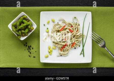 Edamame Beans and Edamame Pasta Salad - Stock Photo
