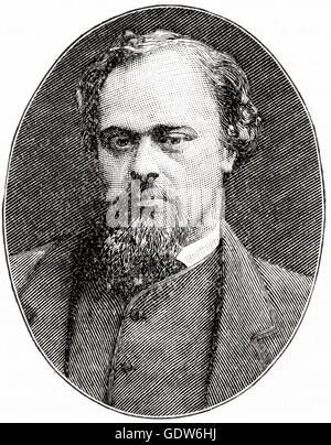 Dante Gabriel Rossetti, 1828 – 1882.  English poet, illustrator, painter and translator.  Founder of the Pre-Raphaelite - Stock Photo
