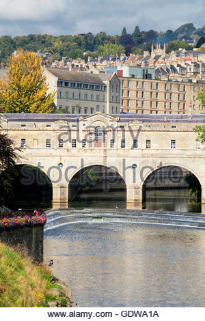 Pulteney Bridge on River Avon, Bath, Somerset, England, Great Britain, U.K - Stock Photo