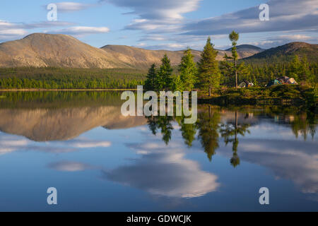 sunrise over stream and pine tree camping in lake - Stock Photo