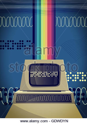Retro personal computer with rainbow - Stock Photo