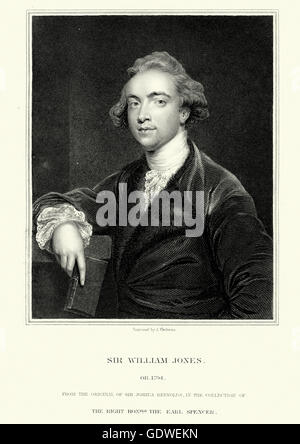 Portrait of Sir William Jones an Anglo-Welsh philologist, a puisne judge on the Supreme Court of Judicature at Fort - Stock Photo