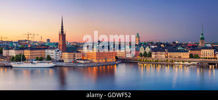Stockholm. Panoramic image of Stockholm, Sweden during sunset. - Stock Photo