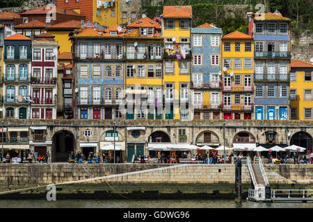 Colorful and picturesque old buildings in Ribeira district, Porto, Portugal - Stock Photo