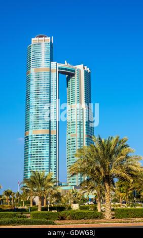 ABU DHABI, UAE - DECEMBER 29: Nation Towers on December 29, 2015 - Stock Photo