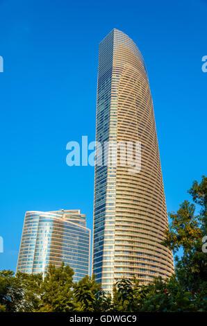 ABU DHABI, UAE - DECEMBER 29: The Landmark, a postmodern superta - Stock Photo