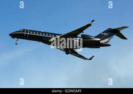 Bombardier Global Express 5000 (BD-700-1A10) G-CEYL is owned by TAG Aviation at Farnborough Airport - Stock Photo