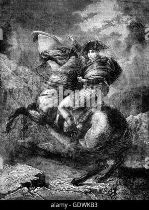 Napoleon Crossing the Alps,  a strongly idealized view of Napoleon and his army crossingthe Alps through the Great - Stock Photo
