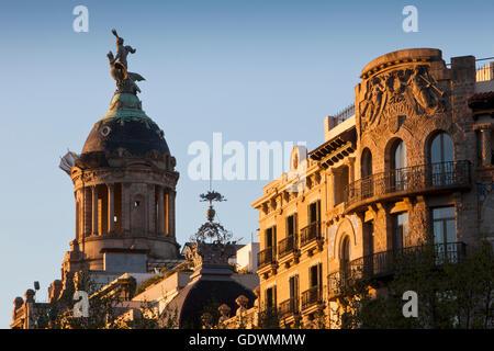 Buildings in Passeig de Gracia, Barcelona, Spain - Stock Photo