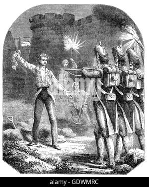 The execution of Louis Antoine de Bourbon, Duke of Enghien ((1772 – 1804), a relative of the Bourbon monarchs of - Stock Photo