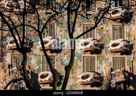 Casa Batllo (Batllo House) by Antonio Gaudi, Barcelona, Spain - Stock Photo