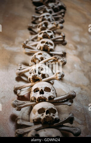 Old Bones, Skulls In Sedlec Ossuary (Kostnice), Kutna Hora, Czech. Ossuary Contain Skeletons Of Between 40,000-70,000 - Stock Photo
