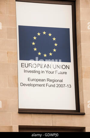 European Union sign on office building in Newcastle upon Tyne - Stock Photo
