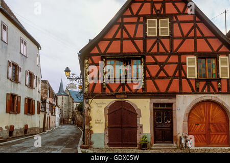 historic centre of Kientzheim in Alsace, France - Stock Photo
