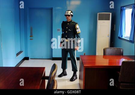 South Korean border guard - Stock Photo