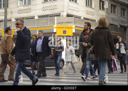 Piraeus Bank branch at the Panepistimiou Street - Stock Photo