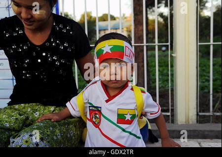 Burmese football fans - Stock Photo