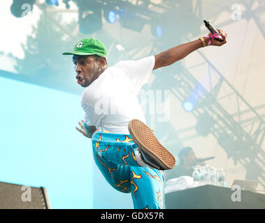 Tyler, the Creator in concert at the Pemberton Music Festival.  Rapper and hip hop dancer.  Outdoor music festival - Stock Photo