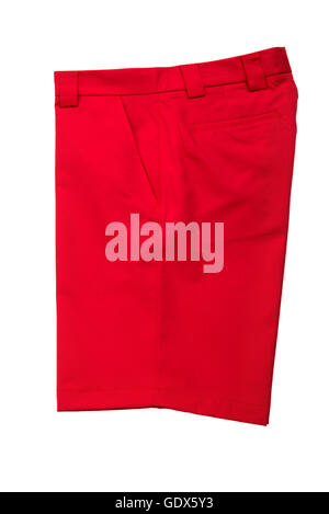 Red short pants trousers for men on white background - Stock Photo