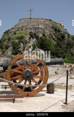 Old cannon gun at the castle of Corfu island in Greece - Stock Photo