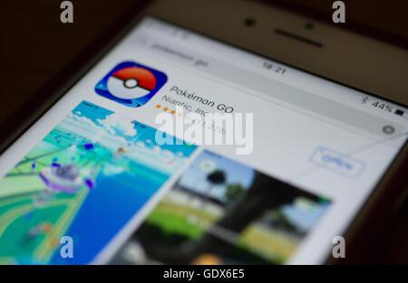 Iphone  screen shot of Pokemon go app store. - Stock Photo