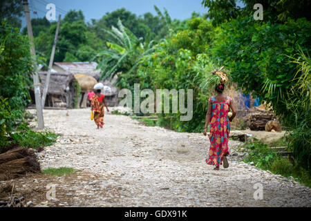 Tharu women in a small village in the Dang valley, Terai, Nepal - Stock Photo