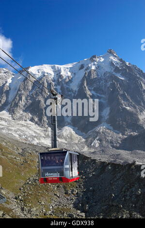 geography / travel, France, The aiguille du Midi (3842m), this summit is reatched by one of the highest cable car - Stock Photo