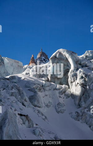 geography / travel, France, Crevasses and seracs on the Mer de Glace glacier in winter, Chamonix, Mont-Blanc range, - Stock Photo