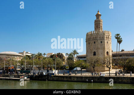 The Torre del Orro, the Golden Tower, Seville, Spain. - Stock Photo