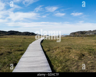 Boardwalk to Ilulissat icefjord fed by Sermeq Kujalleq glacier Ilulissat town in Qaasuitsup municipality in western - Stock Photo