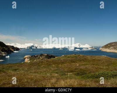 Ilulissat icefjord fed by Sermeq Kujalleq glacier Ilulissat is a town in Qaasuitsup municipality in western Greenland - Stock Photo
