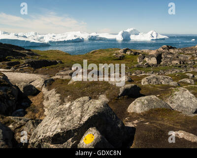View Ilulissat icefjord fed by Sermeq Kujalleq glacier Ilulissat is a town in Qaasuitsup municipality in western - Stock Photo