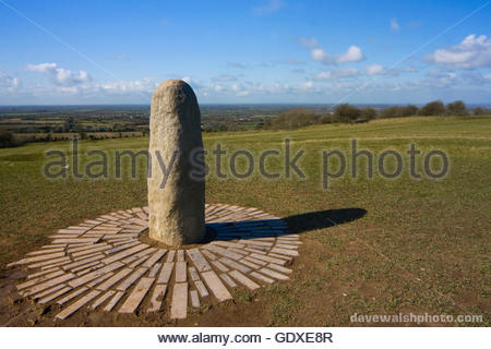 The Lia Fail or Stone of Destiny at The Hill of Tara, Co. Meath, ancient seat of the High Kings of Ireland until - Stock Photo