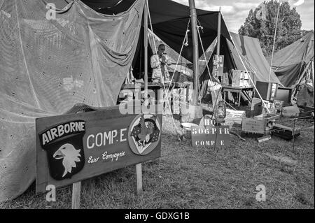 101st Airborne Division US Army camp at the D-Day reenactment in France, 2014 - Stock Photo