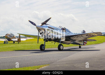Curtiss P-40 Warhawk is an American single-engined, single-seat, all-metal fighter and ground-attack aircraft that - Stock Photo
