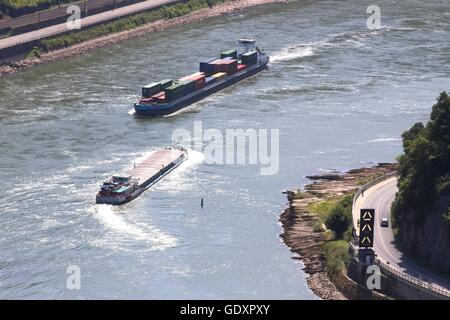 Boat trip on the Rhine at the Loreley Rock - Stock Photo