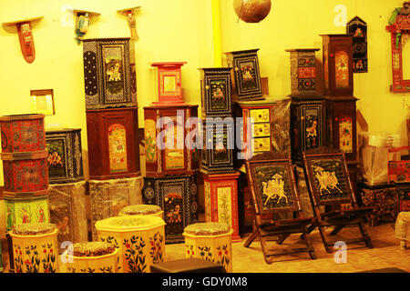 Gift shop of traditional Rajasthani handicraft boxes - Stock Photo