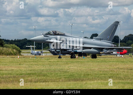 RAF Eurofighter Typhoon aircraft takes off from Farnborough International Air Show 2016 - Stock Photo