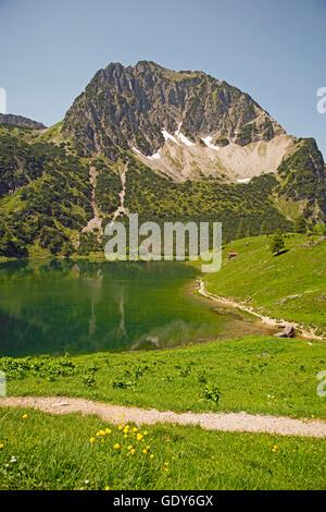 geography / travel, Germany, Bavaria, Lower Gaisalpsee (lake), behind it Rubihorn (peak),  (, 1957m) , Allgaeu, - Stock Photo